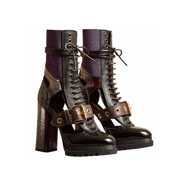 Burberry Leather and Snakeskin Cut-Out Platform Boots ($1,795) ❤ liked on Polyvore featuring shoes, boots, block heel boots, platform shoes, snake skin boots, stretch leather shoes and cut-out boots