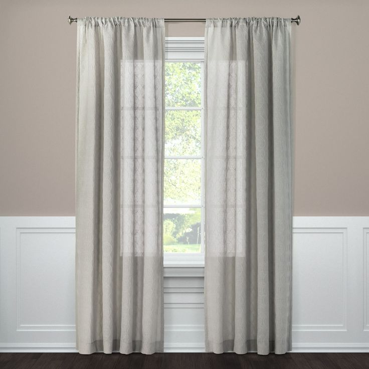 """Embossed Window Sheer Gray (54""""x95"""") - Threshold"""