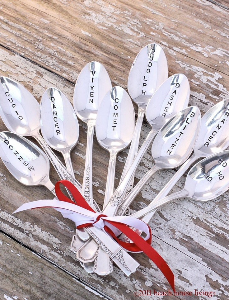 Christmas spoons with reindeer names: Hands Stamps, Life Is Beautiful, Rustic Shabby, Christmas Holidays, Silver Spoons, Spoons Rustic, Reindeer Spoons, Stamps Spoons, Christmas Spoons