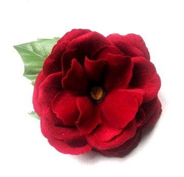 Velvet Red Hair Flower  Garnet Red Rose by BloomDesignStudio. , via Etsy.