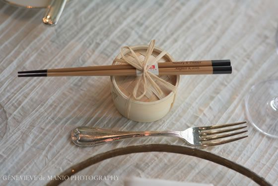 Wedding favor idea: miniature bamboo steamers with custom chopsticks tied to the top and chocolates inside | Institute of Contemporary Art - Boston | Genevieve de Manio Photography