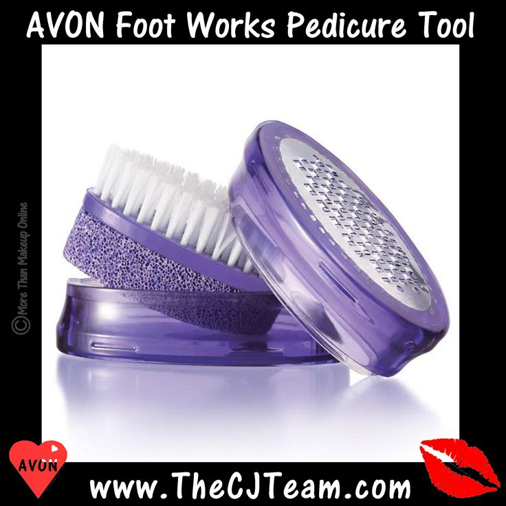 #Avon Foot Works #Pedicure Tool. The #do-it-yourself pedicure essential with four features in one tool. Metal file removes calluses, pumice buffs away roughness, fine-grain file smoothes flaky skin, Brush cleans nails and feet. Reg. $10. #FootWorks #Sale #New #CJTeam #Pedi  #Pedicure #FootWorks #C26 #DIY #PedicureTool #Nail #PrettyFeet Shop Avon Foot Works online @ www.TheCJTeam.com