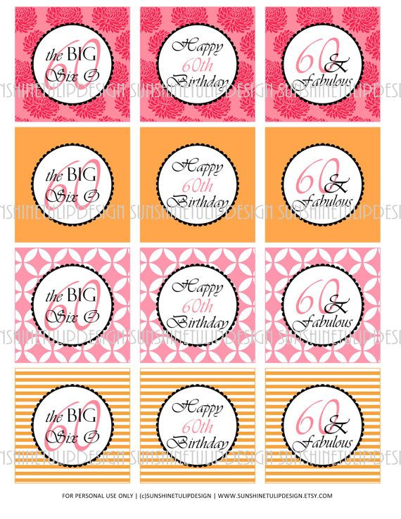 60th birthday printable diy party tags and cupcake toppers