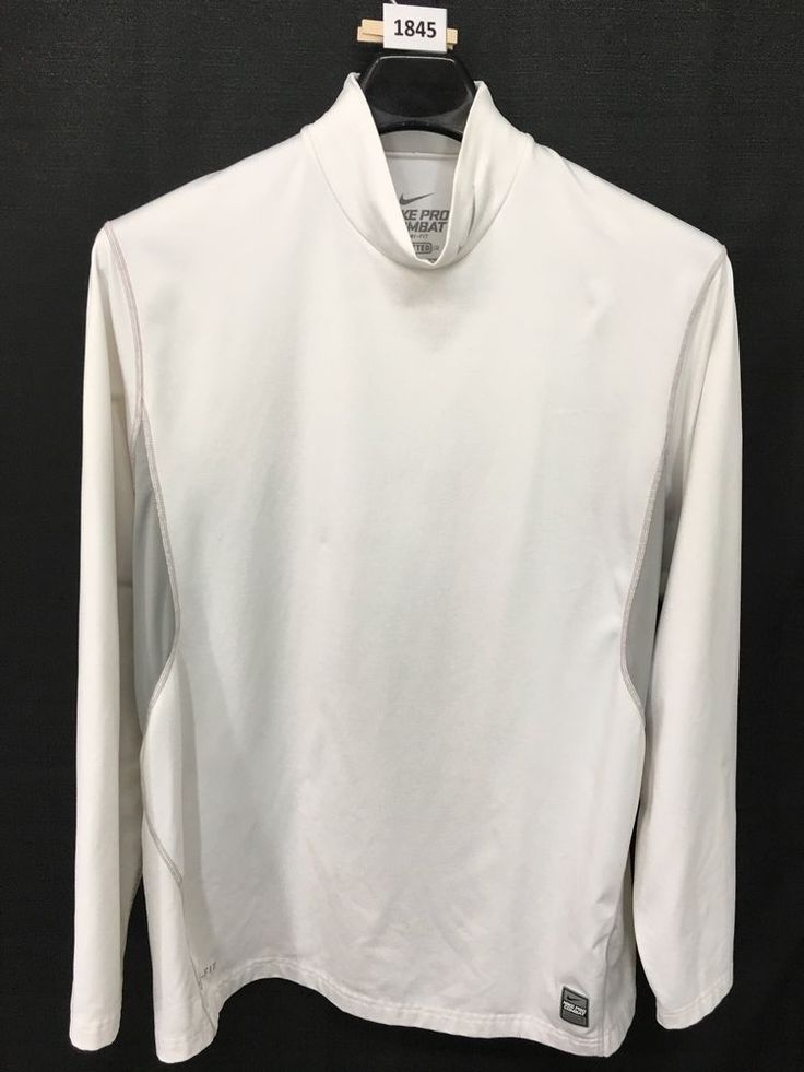 MENS 2XL XXL NIKE PRO COMBAT DRI-FIT FITTED MOCK T-SHIRT WHITE LONG-SLEEVE GYM #Nike #ShirtsTops