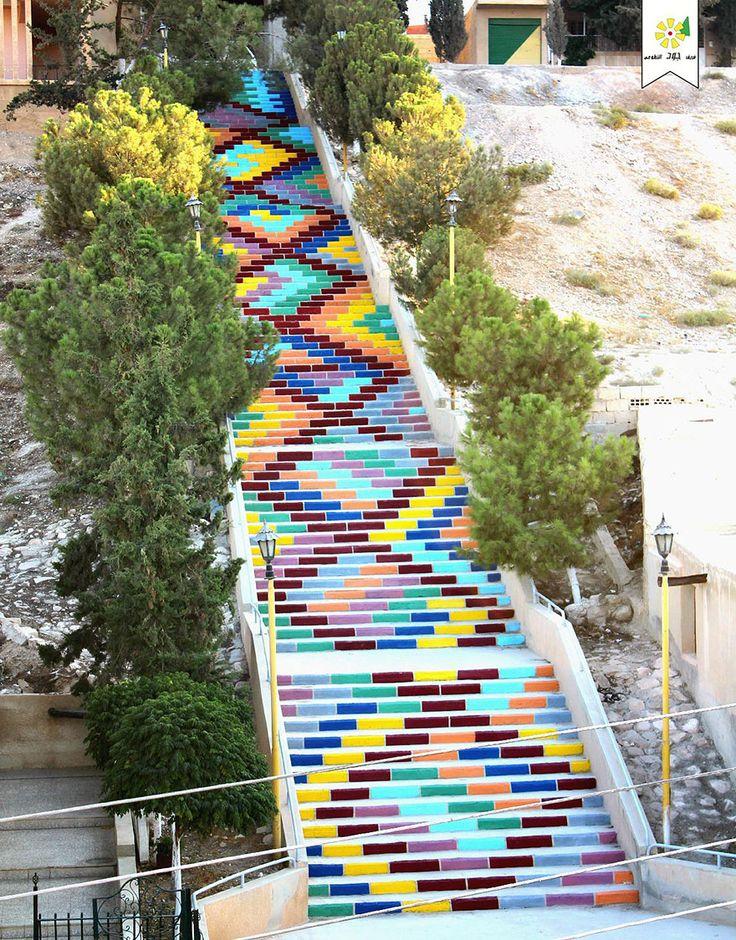 Escaleras pintadas - More artists around the world in : http://www.maslindo.com #art #artists