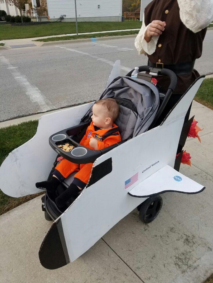 DIY Astronaut Halloween Costume for toddler- stroller shuttle