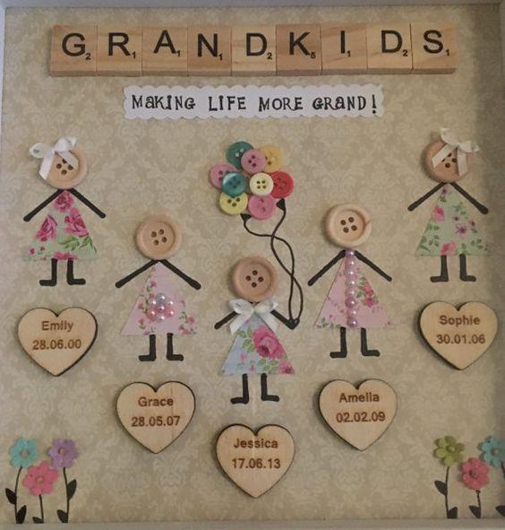 Family Grandchildren Friends Button Box Frame Small