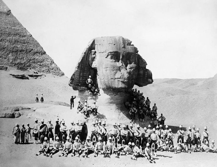 EGYPT: GREAT SPHINX, 1882. British soldiers posing at the Great Sphinx at Giza, 1882, during the English occupation of Egypt. Much of the Sphinx was covered by desert sand at the time.