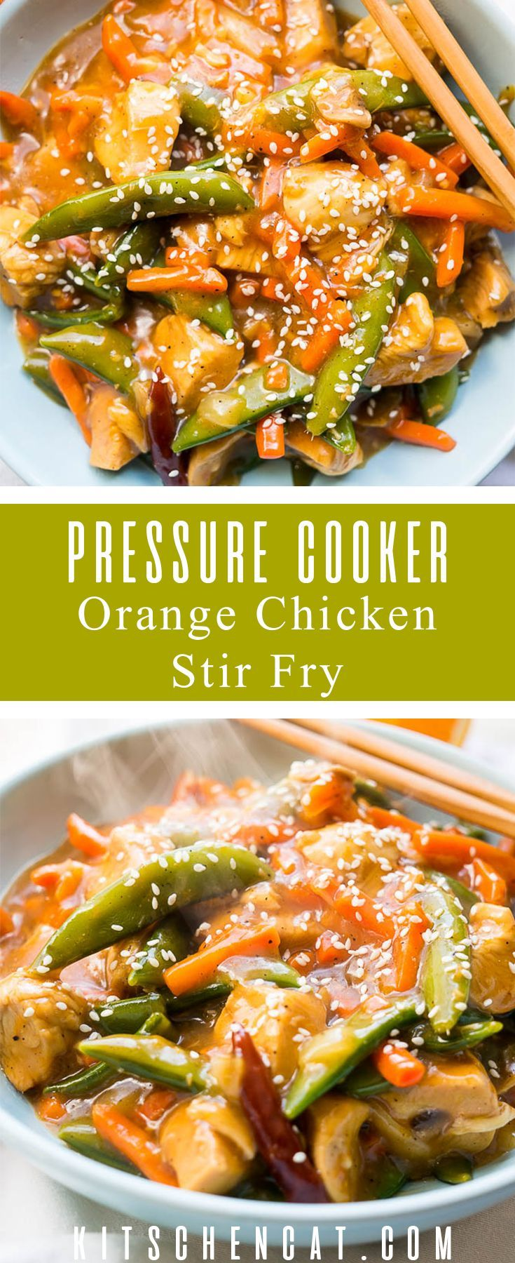 Pressure Cooker Orange Chicken Stir Fry is better than take out and has a REAL orange flavor from fresh oj and grated zest.