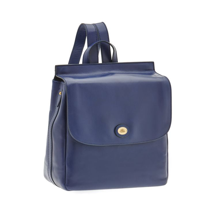 Minimal and functional, this small leather backpack is the perfect accessory for a casual or sporty outfit. Front flap and slip pockets.  #TheBridgeBags