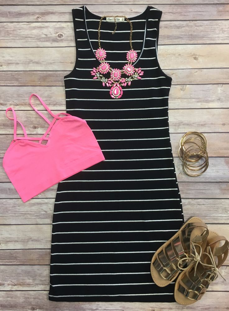 Ribbed Striped Tank Dress: Black