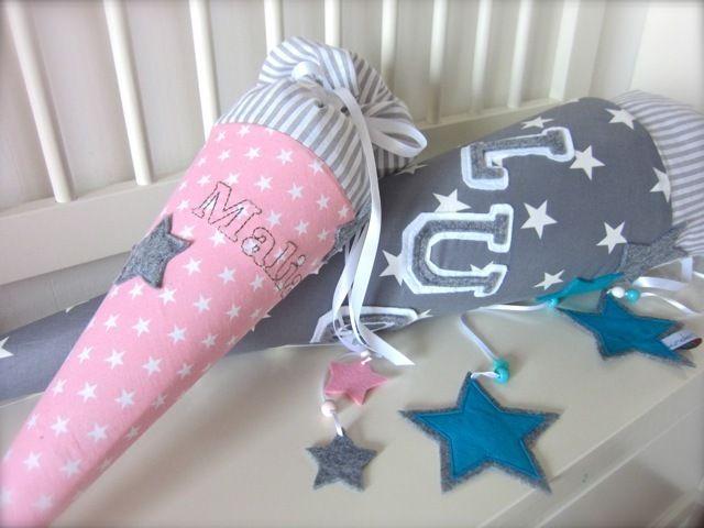 """Schultüte aus Stoff """"Stars &Stripes"""" Geschwist... von wunderwerkstatt-manufaktur auf DaWanda.com"""