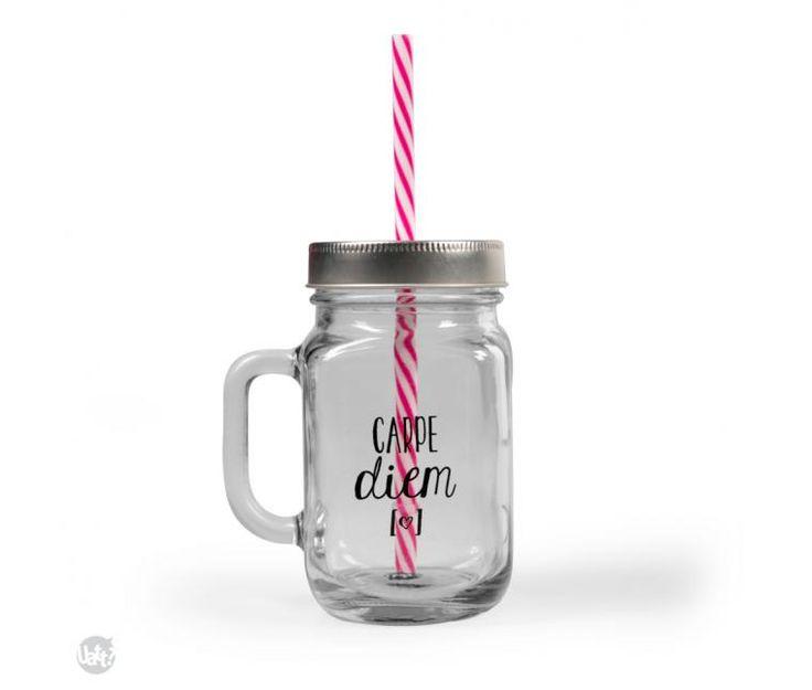 Caneca de vidro com canudo - mason jar - caneconserva - carpe diem   Uatt? Presentes Para Todo Mundo