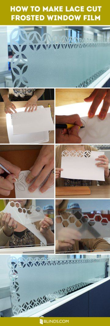 How To Make Lace Cut Frosted Window Film ... using printable stencils & decorative window film, they detail how to make this lace pattern using a homemade light box too ................ #DIY #window #windowfilm #contactpaper #stencil #lightbox #clearplasticstoragebin #light #tutorial #howto #tips #video #privacy #decor #crafts