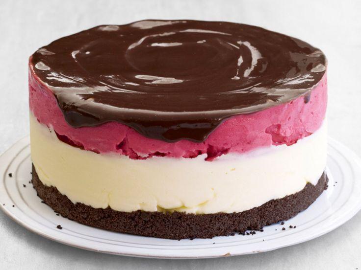 Lemon-Raspberry Sorbet Cake recipe from Food Network Kitchen via Food Network