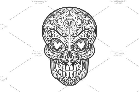 Sugar skull tattoo illustration Graphics Sugar skull tattoo vector illustration. Mexican calavera painting art with hearts isolated on white by vectortatu