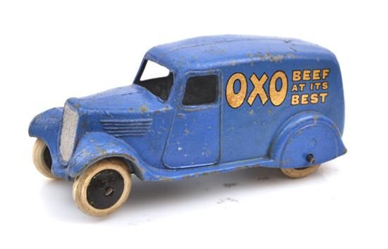 Lot 7  DINKY PRE-WAR 28D OXO VAN   type 2, blue with gold transfers to sides 'Beef At It's Best' and 'Beef In Brief', smooth black hubs, white tyres (G)     Estimate $400-600