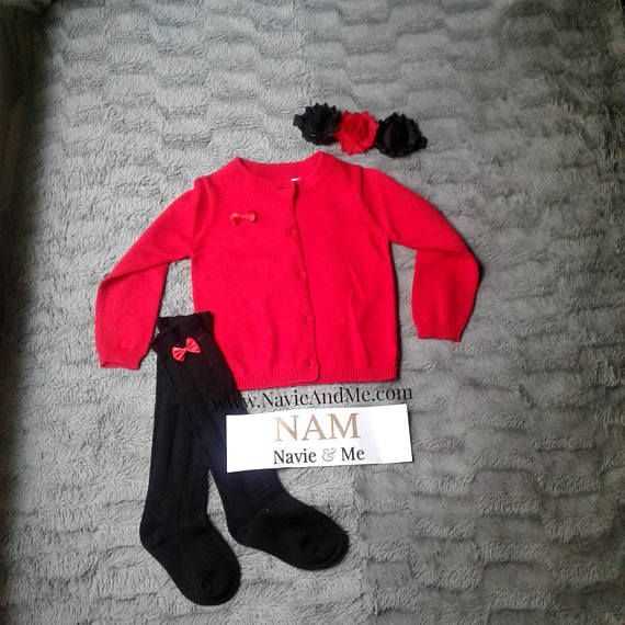 $36.00 | Girl Red Cardigan Sweater with Black knee high socks. Great for Christmas and Valentines day photos.  #RedCardigan #RedCardiganSweater #BlackKneeHighSocks #KidsSocks #BabySocks #GirlsSocks #KneeHighs #KneeHighSocks #BabyHeadband #ToddlerHeadband #ChristmasOutfit #ValentinesOutfit #GirlsValentinesOutfit