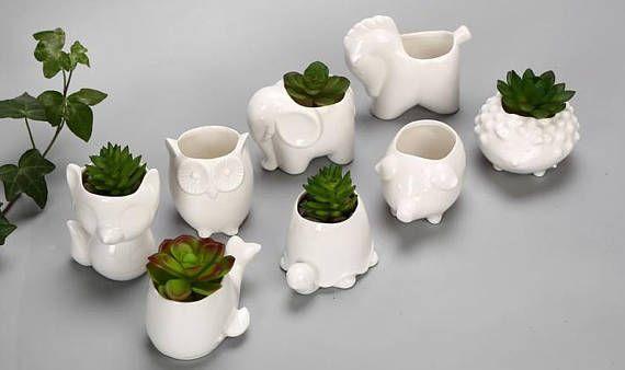 Set Of 4 Ceramic Succulent Pots Fox Shaped Flowerpot Colorful Bonsai Planter