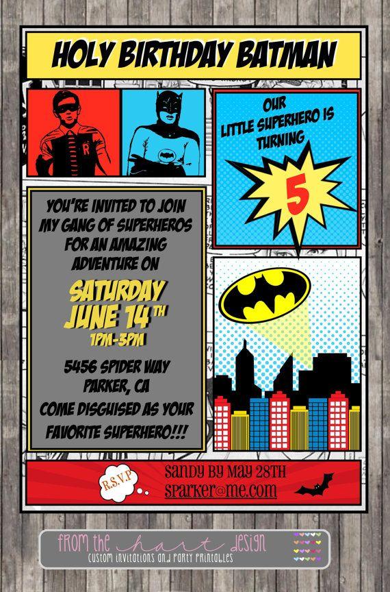 Batman Birthday Party Invitation Comic Superhero Marvel