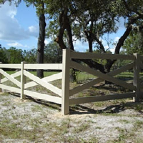 Horse Fence Design 51 best horse fence designs images on pinterest fence design custom tan vinyl crossbuck horse fence by mossy oak fence company central fl workwithnaturefo
