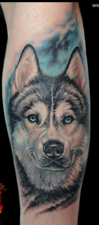 Amazing husky tattoo