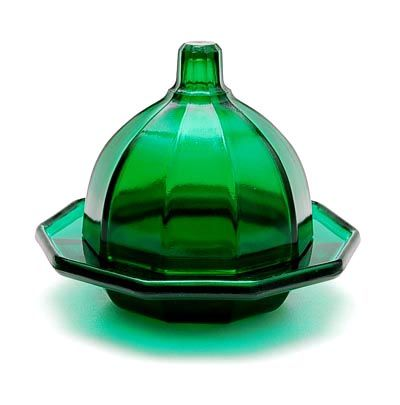 Green glass covered butter-dish design K.P.C.de Bazel 1920 executed by Glasfabriek Leerdam / the Netherlands
