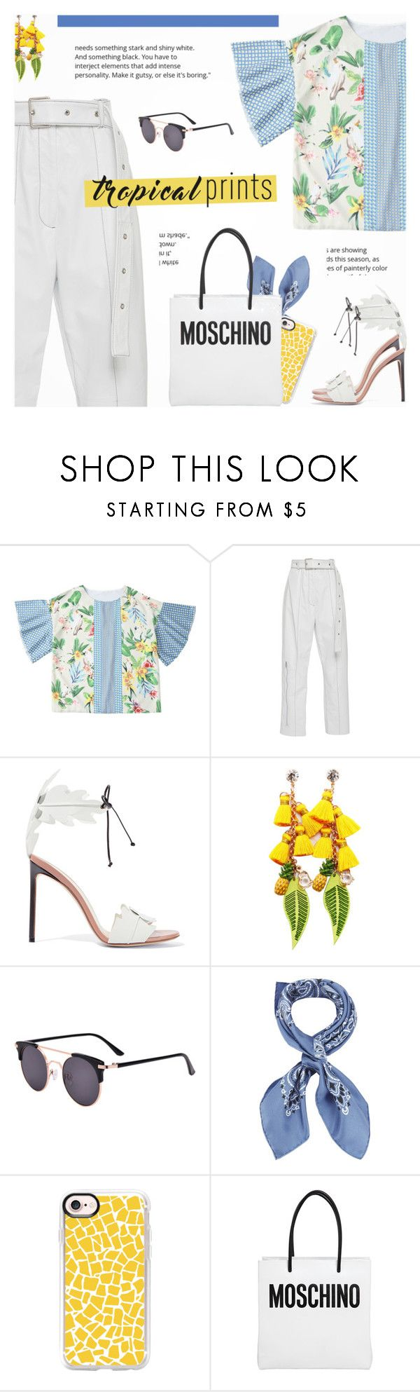 """Tropical Prints"" by novalikarida ❤ liked on Polyvore featuring Francesco Russo, Manipuri, Casetify and Moschino"