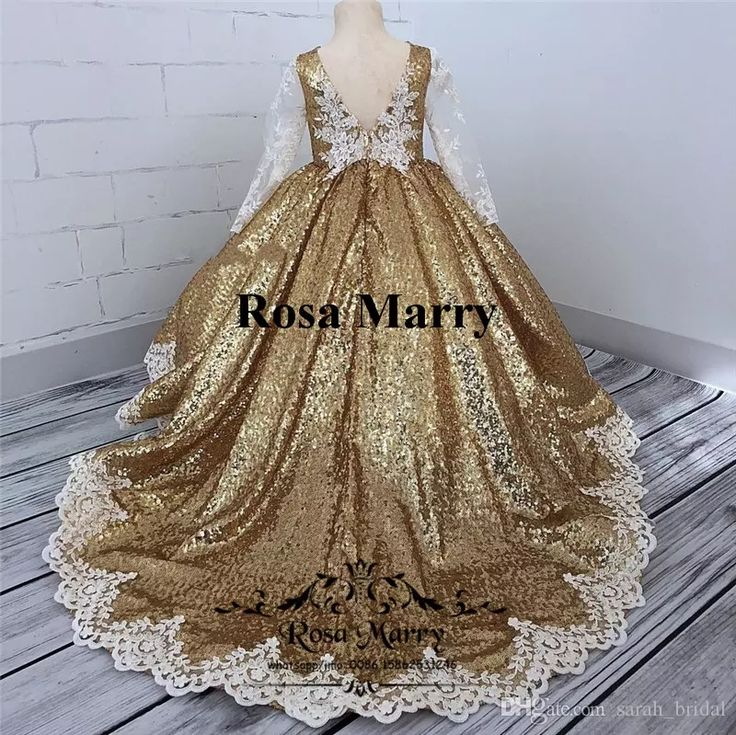 Gold Sequined Ball Gown Girls Pageant Dresses 2018 Vintage Lace Long Sleeves Plus Size Cheap Toddlers Kids Cupcake Pageant Dresses for Teens Ball Gown Flower Girls Dresses Gold Flower Girls Dresses Pageant Flower Girls Dresses Online with $149.72/Piece on Sarah_bridal's Store | DHgate.com