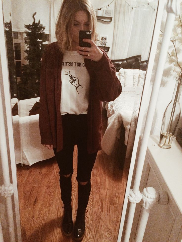 urban jeans, zara boots, brandy flannel, and 'do not disturb' pullover from the lovely shop seasouth