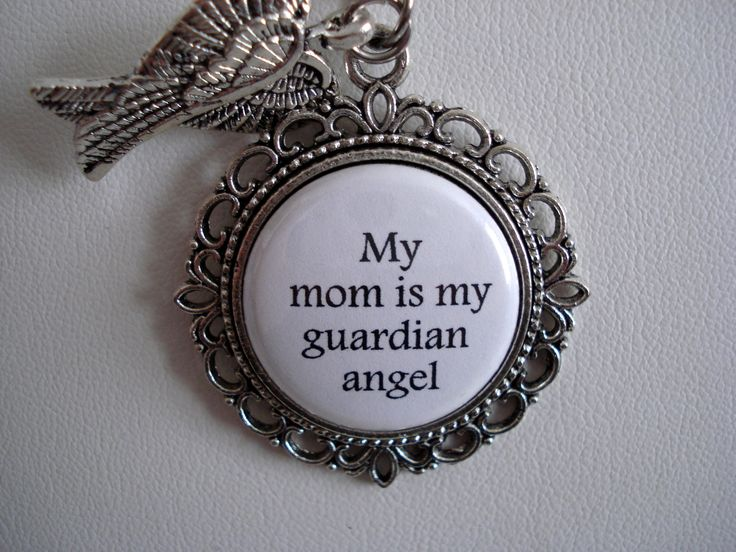 My Mom Is My Guardian Angel Floral Filigree Necklace or Key Chain Memorial Jewelry