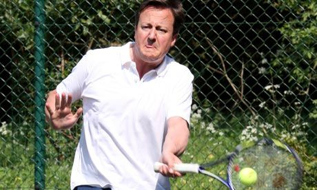 David Cameron at a charity tennis match