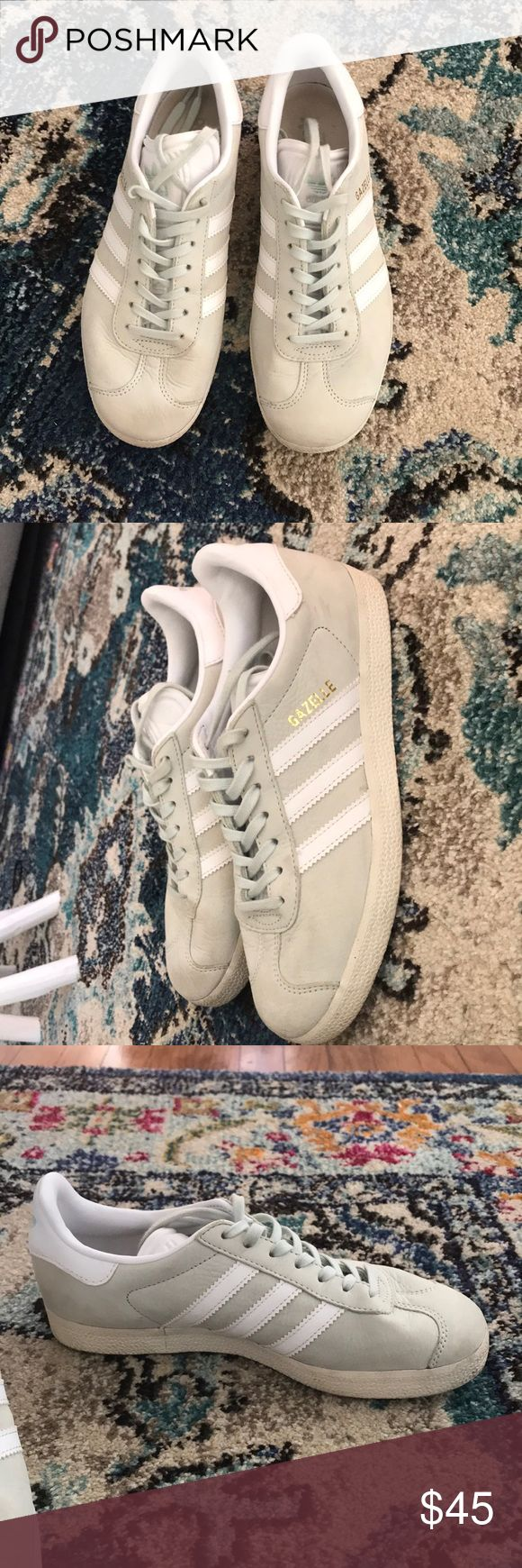 Adidas Gazelle Sneakers Gazelle sneakers in Linen Green! Worn a few times, but a half size too big for me. I think they look very cute with jeans and tops as well as sun dresses and skirts! adidas Shoes Sneakers