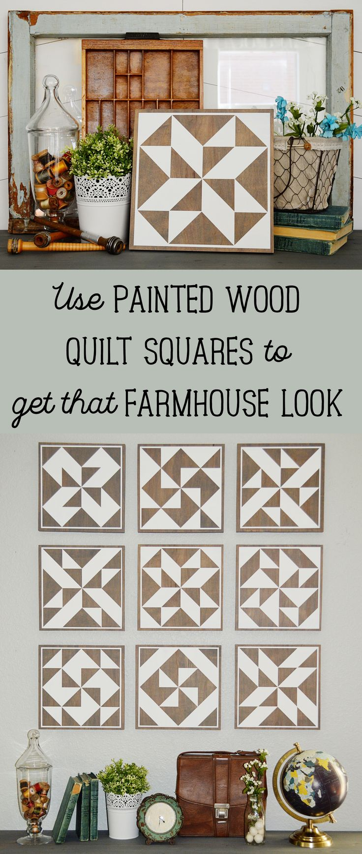 Achieve the cottage / farmhouse / rustic style everyone loves right now by using painted wood quilt squares signs to layer into your decor or pair together as a mural on your wall. #farmhouse #cottage #rustic #quiltsquare #grannysquare #quiltblock #woodsigns #paintedwoodsign #paintedsign