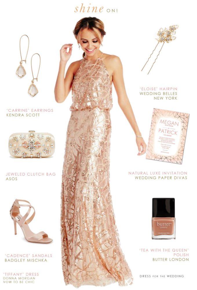 Peach sequin bridesmaid gown