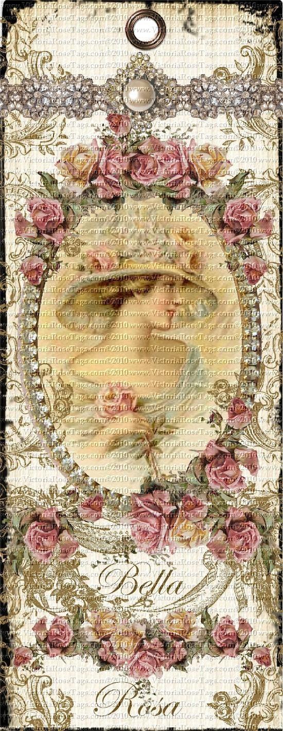 Antique Style Shabby Grunge Bookmark Bella Rosa You Print