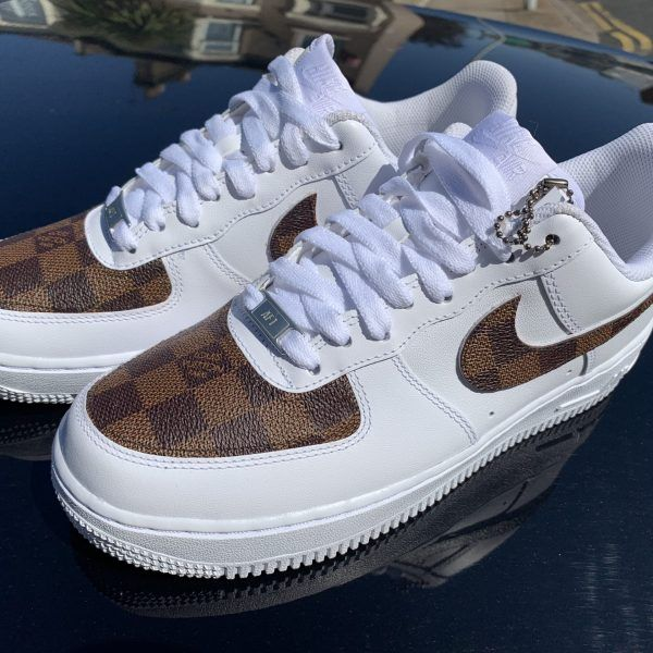 Custom Brown Lv X 19 Air Force 1 Derivation Customs Custom Sneakers Swarovski Trainers In 2020 Custom Nike Shoes Sneakers Sneakers Fashion