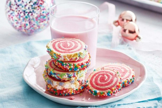 Get the kid's excited about Christmas with these two-tone spiral biscuits, coated with 100's and 1000's, sprinkles and sugar stars.