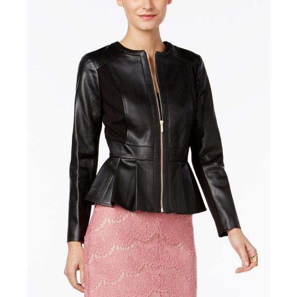 Thalia Sodi Faux-Leather Peplum Jacket, ($55) ❤ liked on Polyvore featuring outerwear, jackets, deep black, fake leather jacket, vegan leather jacket, synthetic leather jacket, faux leather peplum jacket and vegan jackets