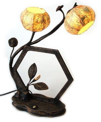 Mulberry Rice Paper Ball Handmade Hexagonal Flower Design Art Shade Yellow Round Globe Lantern Brown Asian Oriental Decorative Accent Home Decor Bedside Bedroom Table Desk Lamp by Antique Alive. $99.95. This oriental table lamp consists of two lights covered with hanji yellow paper shades in the shape of flower buds and traditional Korean hexagonal window frame. The frame and base of the lamp is also made of hanji and is dyed with a natural pigment giving it a woode...