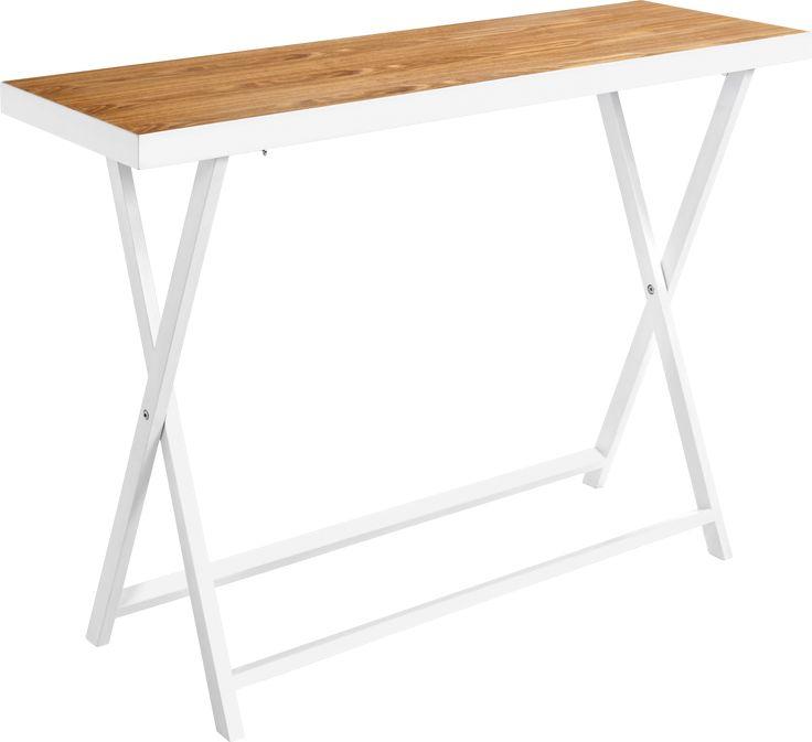 Konsollbord i høyglans hvit. Perfekt i gang, stue og soverom. Praktisk og fint konsollbord, også for små rom. Laget av MDF, Akasietre og ask finér.
