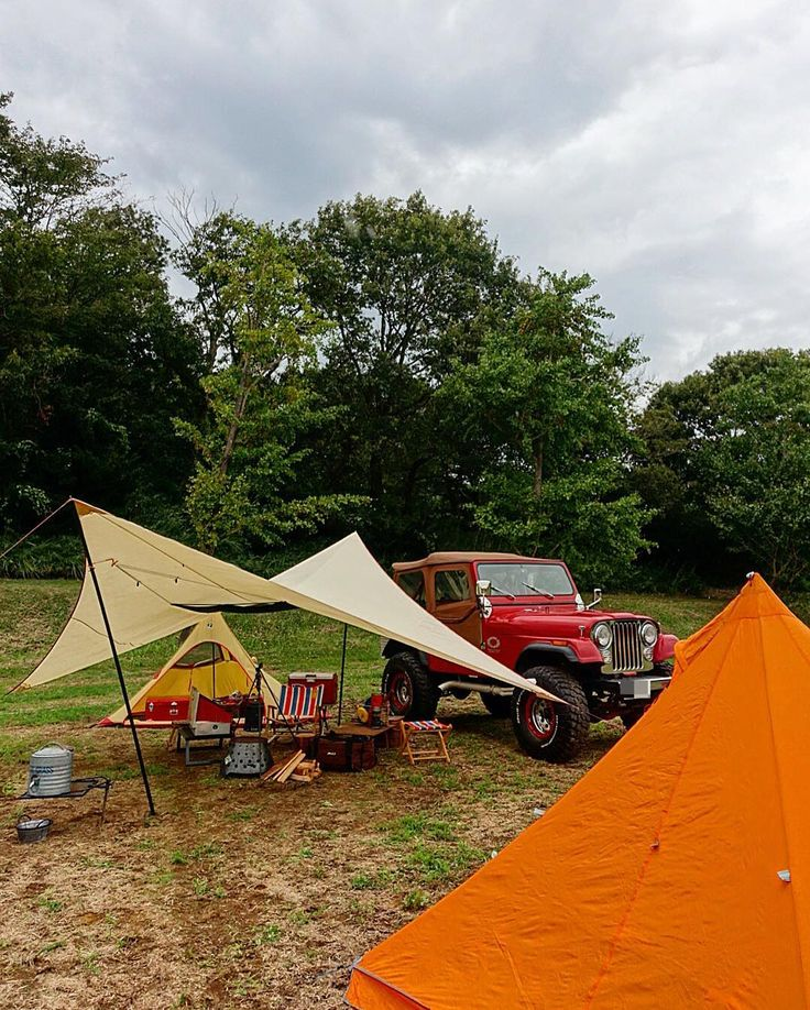 雨雲避けて のんびりチェックイン! #ジープ #アウトドア #キャンプ #焚火 #camping #camp #outdoors #outdoor #jeep #cj7 #msr #moss ...