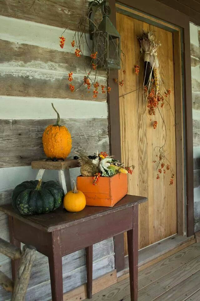 Autumn porch primitive fall and harvest pinterest