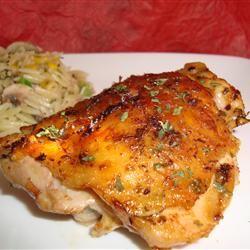 Easy Garlic Broiled Chicken Thighs- this is a favorite go-to recipe!  I use boneless/skinless thighs and bake at 375 for 35 min + 10 min. of broiling and it's amazing.  You can use olive oil, low sodium soy sauce, and fresh parsley to make it cleaner and it's still amazing.