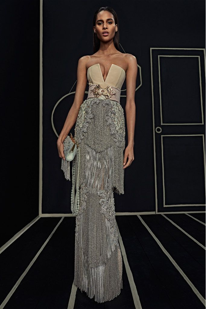 PRE FALL Balmain 2016 - Long fringed dress and strapless