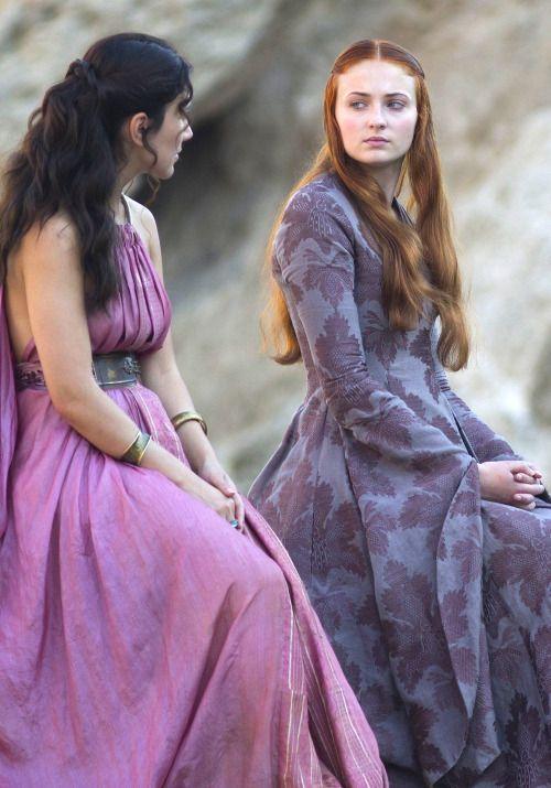 Sibel Kekilli as Shae and Sophie Turner as Sansa Stark in Game of Thrones