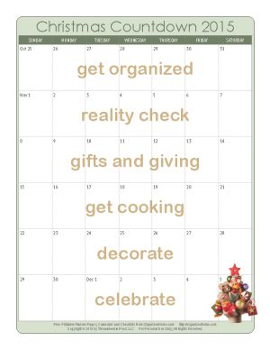 Are you getting ready for #Christmas? Download this great calendar to help stay #organized! http://christmas.organizedhome.com/christmas-countdown/calendar