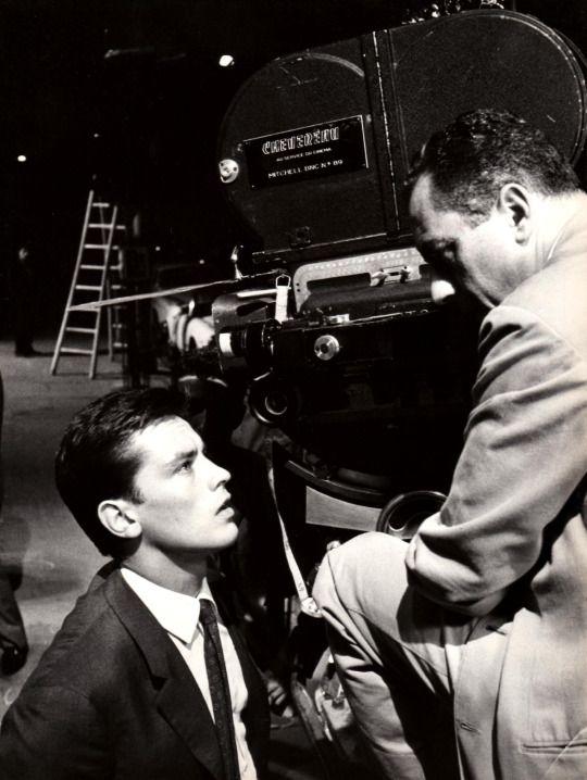 Alain Delon and Michelangelo Antonioni on the set of L'Eclisse., 1962
