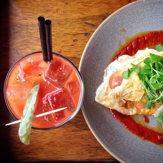 Kettle and Tin Paddington, bunch of goat's cheese proscuitto omelette and bloody mary