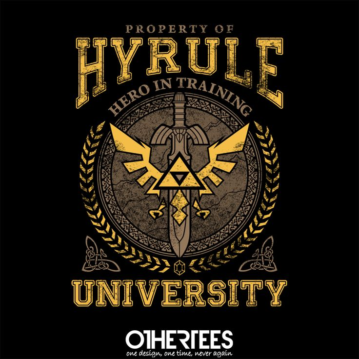 """""""Hyrule University"""" by TeeNinja Shirt, Sweatshirt, Hoodie and Tank Top on sale until 13 July on othertees.com Pin it for a chance at a FREE TEE! #zelda"""